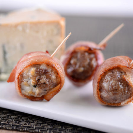 Bacon Wrapped Beef & Blue Cheese Meatball